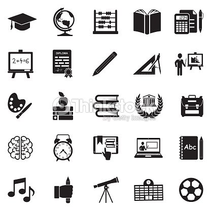 Education Icons. Black Flat Design. Vector Illustration. : stock vector