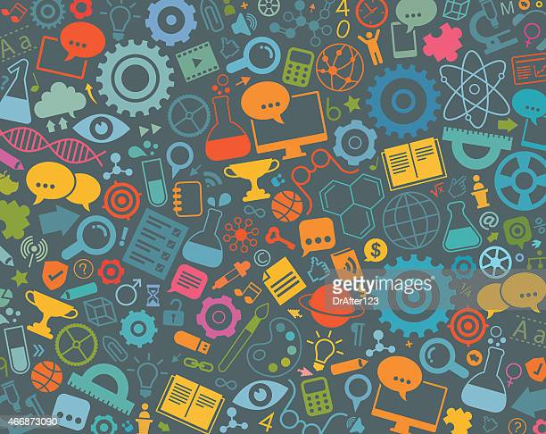 Education Icons On Gray Background Pattern