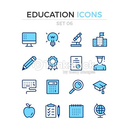 Education icons. Vector line icons set. Premium quality. Simple thin line design. Stroke, linear style. Modern outline symbols, pictograms : stock vector