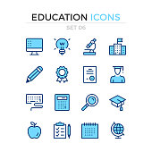 Education icons. Vector line icons set. Premium quality. Simple thin line design. Stroke, linear style. Modern outline symbols, pictograms