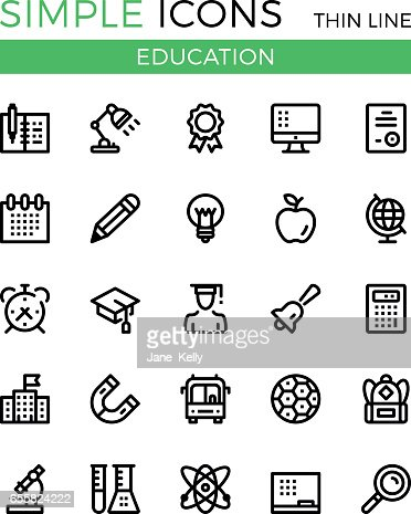 Education, learning, school vector thin line icons set. 32x32 px. Modern line graphic design linear concepts for websites, web design, etc. Pixel perfect vector outline icons set : Arte vettoriale