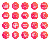 Education line icons. Set of Laptop, Book and Video Tutorial signs. Graduation cap, Instructions and Presentation. Internet Lectures, Charts and Idea symbols. Trendy gradient circle buttons. Vector