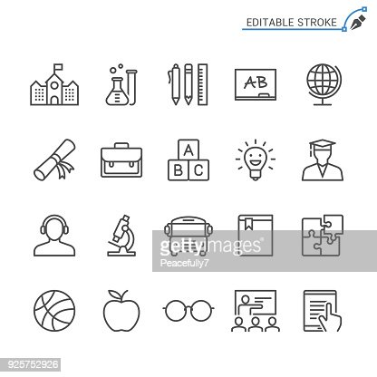 Education line icons. Editable stroke. Pixel perfect. : Vector Art