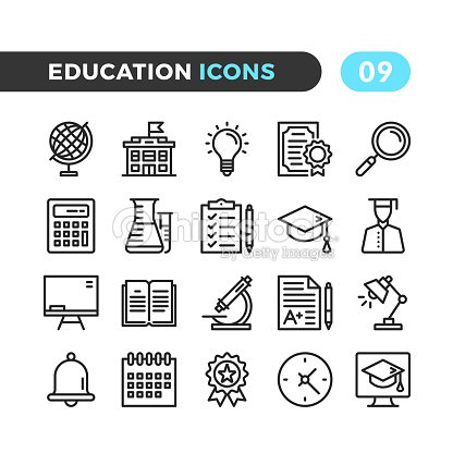 Education line icons. Outline symbols collection. Modern stroke, linear elements. Premium quality. Pixel perfect. Vector thin line icons set : stock vector