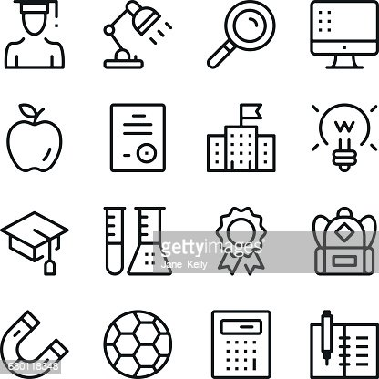 Education line icons set. Modern graphic design concepts, simple outline elements collection. Vector line icons : Vector Art