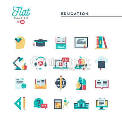 Education, online books, distance learning, webinar and more, flat icons set : stock vector