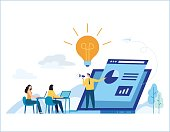 Education online training courses vector illustration. tutorials e-learning concept. distance internet studying banner. skill development. flat cartoon design for mobile and web