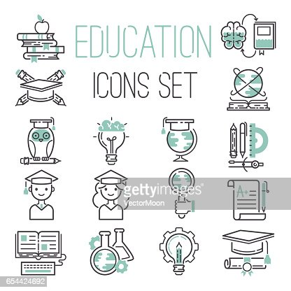 Education outline black school symbol and green icons set university knowledge thin sign graduation graduate learn diploma mathematics vector illustration : Arte vettoriale