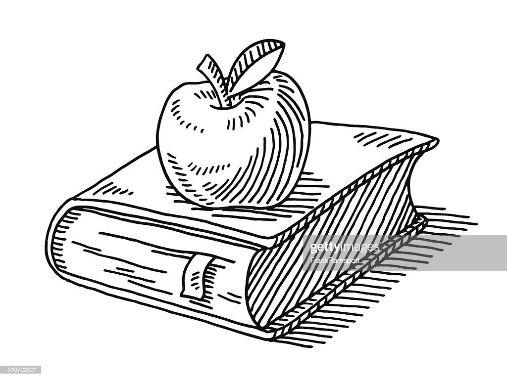 Free Line Art Converter : Education symbol apple book drawing vector art getty images