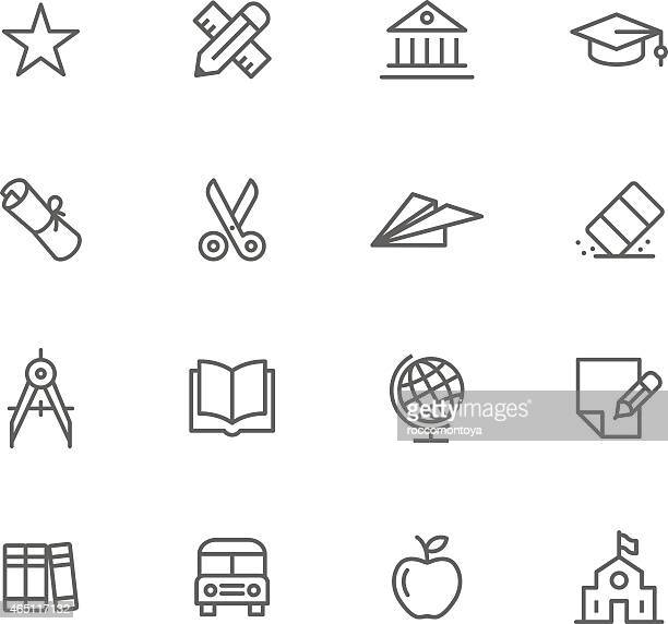 Education themed thin-line icon set