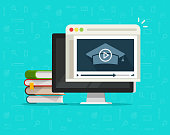 Education via online video on computer vector illustration, flat cartoon desktop pc and video webinar courses, concept internet learning, digital distance study, web tutorial