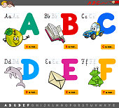 Cartoon Illustration of Capital Letters Alphabet Educational Set for Reading and Writing Practise for Children from A to F