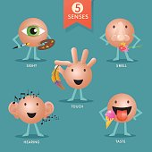 educational cartoon characters representing the five human senses, each one demonstrating their qualities and purpose