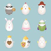 Egg character emotion icon kawaii easter set