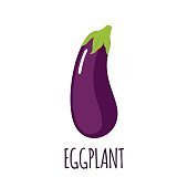 Eggplant vector icon in flat style. Isolated object. Vegetable from the garden. Healthy lifestyle. Organic food. Vector illustration.