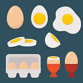Eggs set isolated on dark blue background. Vector illustration. Flat design.