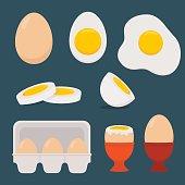 Eggs set isolated on dark blue background. Vector illustration. Flat design.