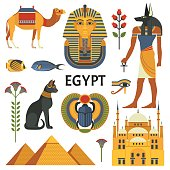 Vector collection of Egyptian culture and nature images, including pyramids, Anubis, Bastet, camel, Tutankhamen, scarab and mosque. Isolated on white.
