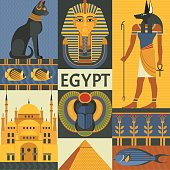 Vector illustration with Egyptian culture and nature images, including pyramid, Anubis, Bastet, Tutankhamen, scarab and mosque. Isolated on background.