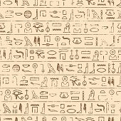 Egyptian Hieroglyphics Background. Repeating tileable vector illustration that repeats left, right, up and down.