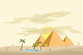 Egyptian pyramids, near an oasis with palm trees and water. Flat design, vector illustration, vector.