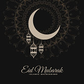 eid mubarak dark decorative background