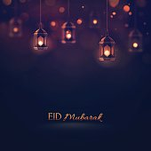 Eid Mubarak, greeting background. Illustration contains transparency and blending effects, eps 10