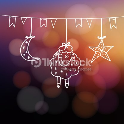 Eiduladha greeting card with sheep moon star and flags vector art eid ul adha greeting card with sheep moon star and flags m4hsunfo