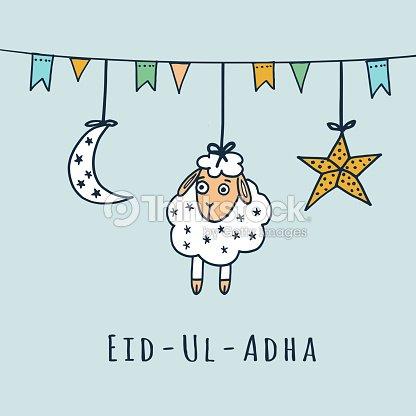 Eiduladha greeting card with sheep moon star vector vector art eid ul adha greeting card with sheep moon star vector m4hsunfo