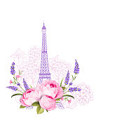 Eiffel tower with rose flowers and roses isolated over white background. The lavender elegant card. Eiffel tower symbol with spring blooming flowers for wedding invitation. Vector illustration.