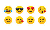 Eight emoticon set. Laughing, cool, in love, kiss, smile, wink. Vector EPS 10