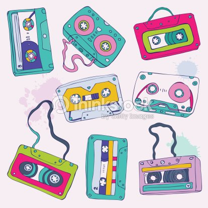 eight retro cassette tape designs vector art thinkstock. Black Bedroom Furniture Sets. Home Design Ideas