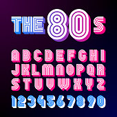 Eighties style retro font. 80's font design with shadow, disco style, alphabet and numbers