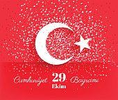 29 ekim Cumhuriyet Bayrami, Republic Day Turkey. 29 october Republic Day Turkey and the National Day in Turkey. Celebration background with turkish flag and confetti. Vector illustration