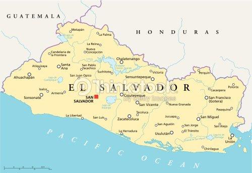 El Salvador Political Map Vector Art Thinkstock - Political map el salvador