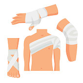 Elastic Medical Bandage on Wrapped Around Human Body Parts Include of Knee, Hand and Leg. Vector illustration