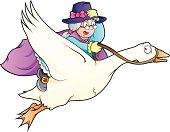Cartoon vector illustration of Mother Goose