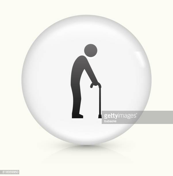 Elderly Man Holding Cane icon on white round vector button