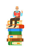 Elderly man teacher reads open book sitting on stack of giant books. School education concept. Vector cartoon illustration. Senior professor shares his knowledge. Isolated on white
