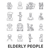 Elderly people, care, elderly couple, old people, elderly patient, support line icons. Editable strokes. Flat design vector illustration symbol concept. Linear signs isolated on white background