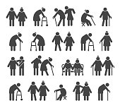 Elderly people icons. Aged or senior man signs, retired silhouettes vector illustration