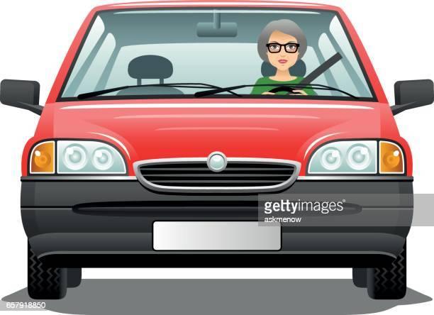 Ältere Frau Autofahren
