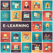 Set of modern vector education, e-learning flat design icons in squares. Online education, professor, work place, knowledge, science, tutorials, tests, university, research lessons webinar