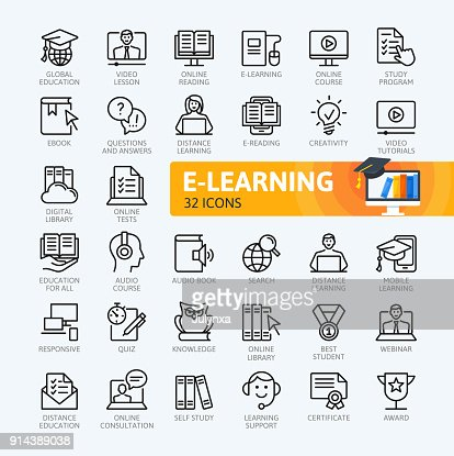 E-learning, online education elements - minimal thin line web icon set. Outline icons collection. Simple vector illustration. : stock vector