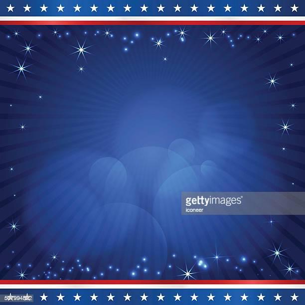 STATI UNITI D'AMERICA elezione progettazione modello quadrato su sfondo di raggi blu scuro