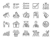Election line icon set. Included icons as vote, campaign, candidates, ballot, elect and more.