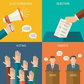 Elections and voting concept vector flat style background. Illustration for political campaign flyer, leaflets and websites. Flat style background.