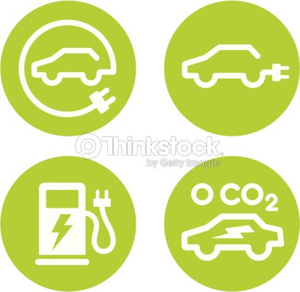 Electric Car And Charging Point Icons Vector Art Thinkstock