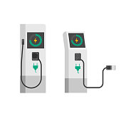 Electric car charger vector illustration, flat cartoon electric vehicle charging station with wire cable isolated on white background