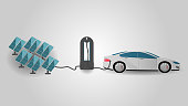 Electric Car Charging at the Charger Statio Using Rrenewable Energy. Electromobility e-motion and renewable energy concept